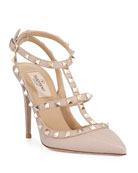 Rockstud Leather Caged Pump, Nude