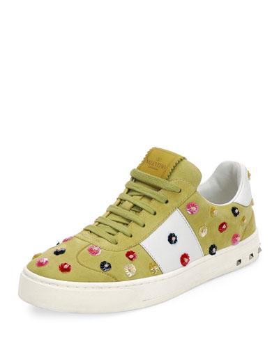 Suede Floral-Stud Low-Top Sneaker, Multi