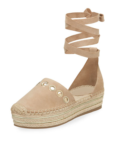 Ariela Wrap-Tie Espadrille Flat, Light Natural