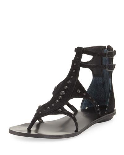 Fayth Studded Gladiator Flat Sandal, Black