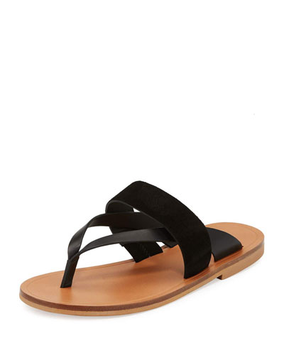 Tess Leather Flat Slide Sandal, Black
