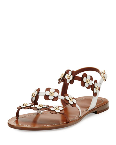 colorado floral leather flat sandal, luggage