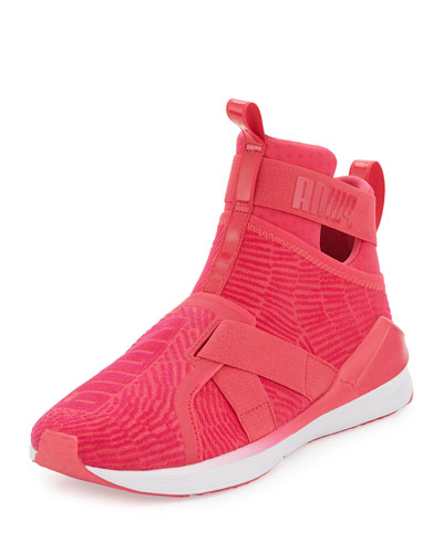 Fierce High-Top Strap Flocking Sneaker, Pink