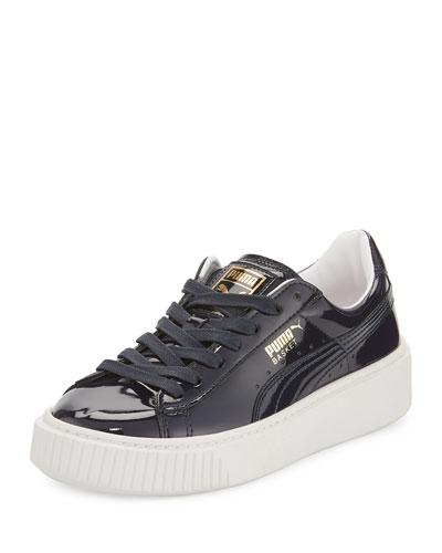 Basket Patent Platform Sneaker, Dark Blue