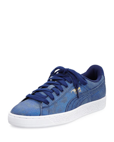 Basket Iridescent Denim Sneaker, Blue