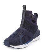 Fierce High-Top Strap Flocking Sneaker, Blue