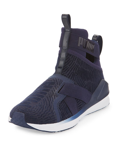 Fierce High-Top Strap Flocking Sneaker, Blue
