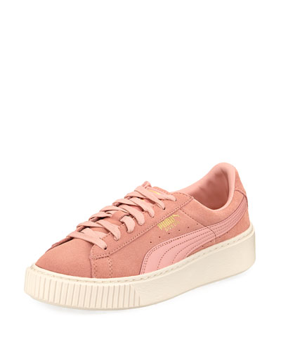 Suede Platform Lace-Up Sneaker, Pink