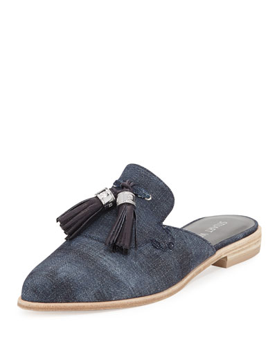 Slidealong Tassel Pointed-Toe Mule, Navy