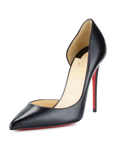 Iriza Half-d'Orsay 100mm Red Sole Pump, Black