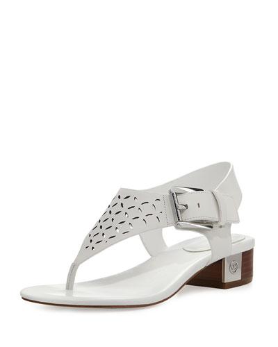 London Laser-Cut Flat Sandal, White