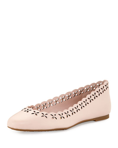 Thalia Laser-Cut Leather Ballerina Flat