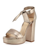 Celine Platform Metallic Leather Sandal, Luna