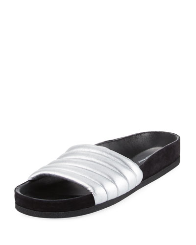 Hellea Metallic Quilted Leather Slides in White