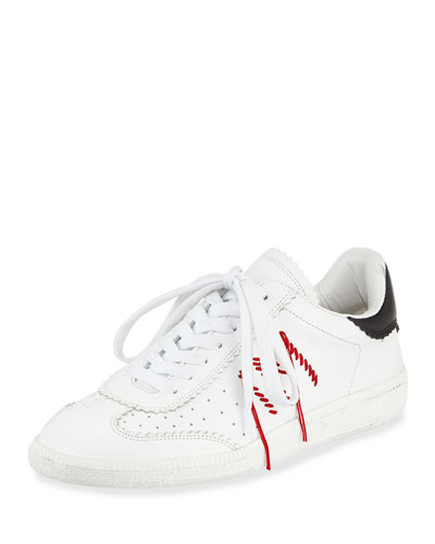 Bryce Side-Stitch Low-Top Sneaker, White/Black
