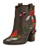 Pete Embroidered 95mm Bootie, Brown