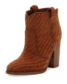 Nico Woven Velvet 95mm Bootie, Brown