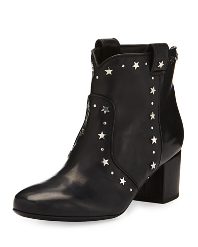 Belen Star-Studded Leather Bootie, Black