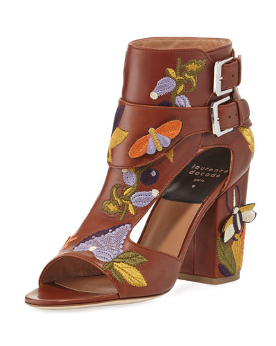 Rush Embroidered Leather Sandal, Brown