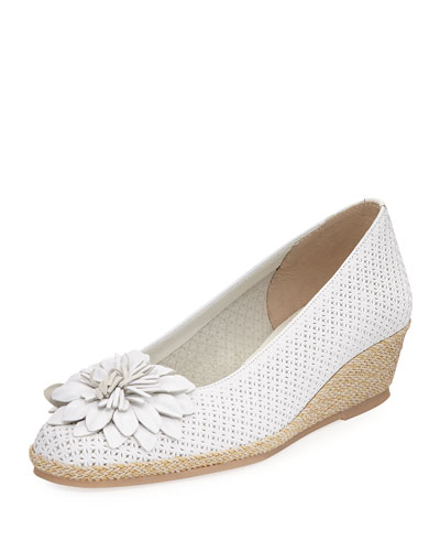 Mae Floral Wedge Espadrille, White