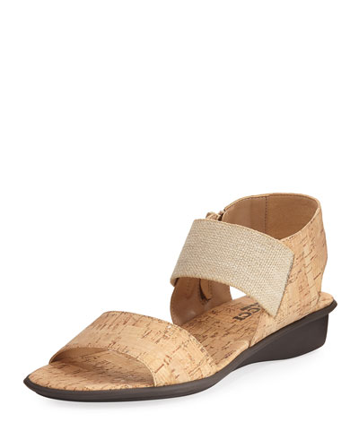 Elki Demi-Wedge Flat Sandal, Neutral