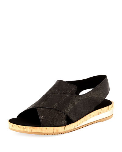 Sabita Demi-Wedge Flat Sandal, Black