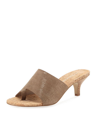 Reo Metallic Slide Sandal, Bronze