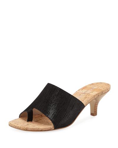 Reo Metallic Slide Sandal, Black