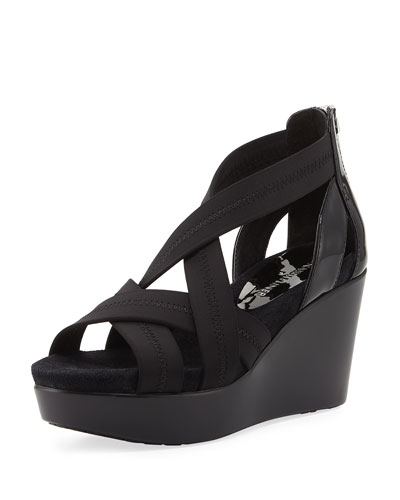 Jilli Canvas Wedge Sandal, Black