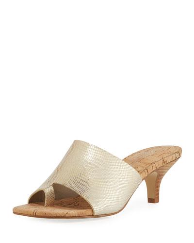 Reo Viper-Print Slide Sandal, Gold