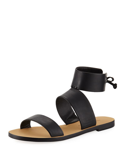 Emma Ankle-Wrap Flat Sandal, Black