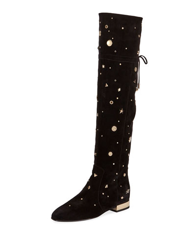 New Polly Astre Studs Over-the Knee Boots in Suede