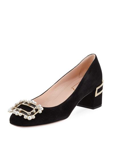 Isadora Embellished Suede Low-Heel Pump