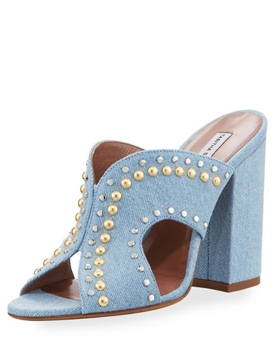 Celia Studded Denim Mule Sandal, Denim Jeans