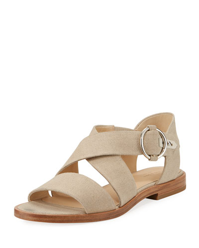 Brie Flat Canvas Flat Sandal, Cream