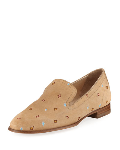 Amber Embroidered Loafer, Camel