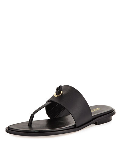 Cindy Vachetta Flat Slide Sandal, Black