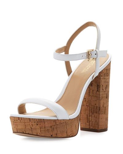Dallas Cork Platform Sandal, White