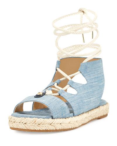 McKenna Denim Flatform Sandal, Blue