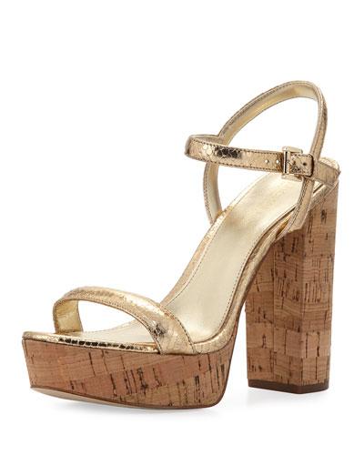 Dallas Metallic Cork Platform Sandal, Neutral