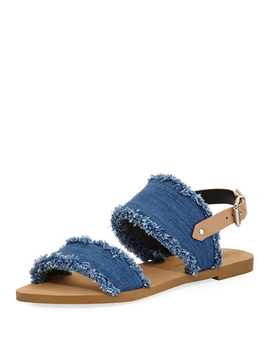 Emery Denim Fringe Flat Sandal, Blue