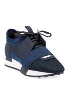 Balenciaga Mixed Knit Lace-Up Sneakers, Blue/Multi