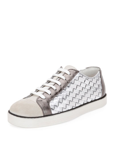 Metallic Woven Low-Top Lace-Up Sneaker
