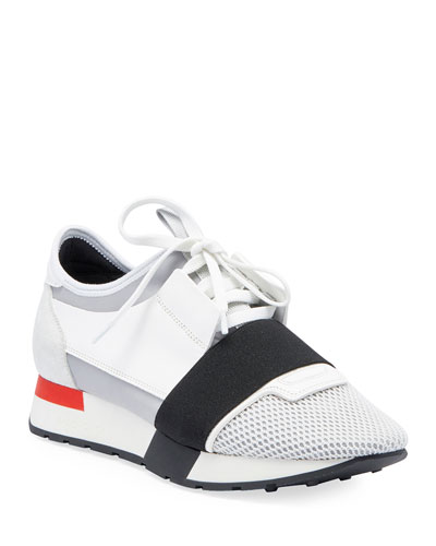 Mesh & Leather Sneaker, White/Black/Gray