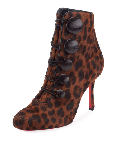Booton Leopard Button Red Sole Bootie, Brown