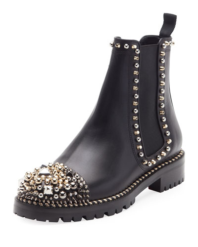 Chasse A Clou Flat Chelsea Booties, Black