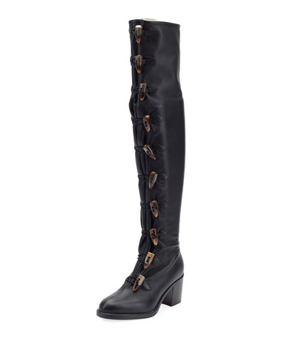 Dona Manuela Over-The-Knee Red Sole Boot