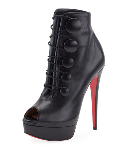 Lady Booton Peep-Toe Red Sole Platform Bootie, Black
