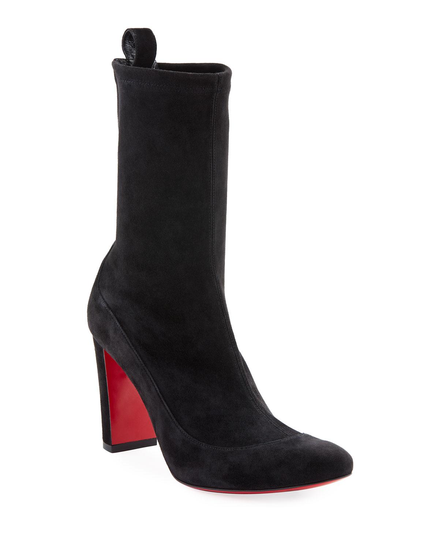 Gena Stretch Suede Midi Boots, Black