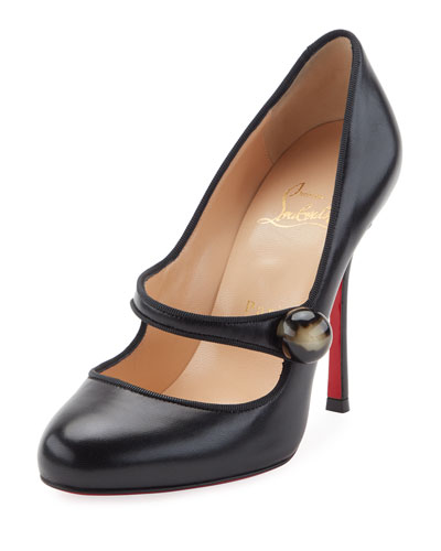 Booton Leather Red Sole 100mm Mary Jane Pump, Black